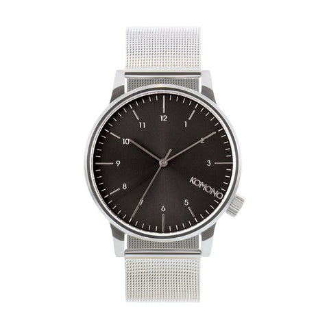 Komono Winston Royale Watch: Silver Black