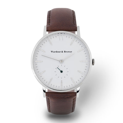Wardour & Brewer Silverstone Watch: Silver & Brown Leather