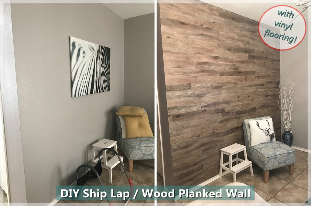 The Easiest Way to DIY Wood Plank / Ship Lap Accent Wall with Vinyl Flooring