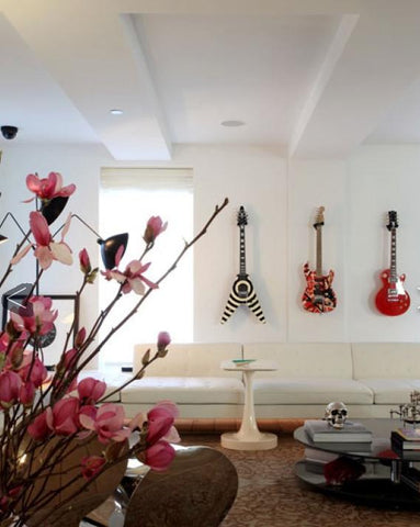 rocker decor guitars on wall