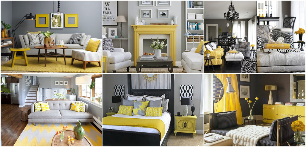 Decor ideas for grey living room, bedroom, yellow accent decor