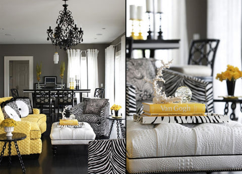 yellow accent decor for grey room