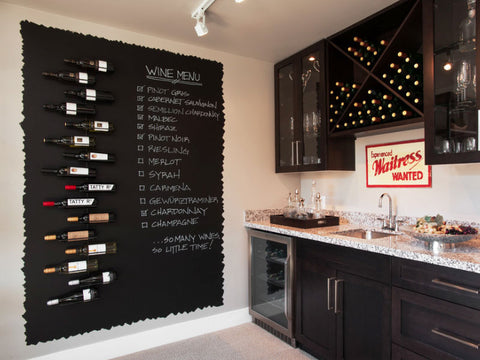wine bar home decor ideas, chalk menu