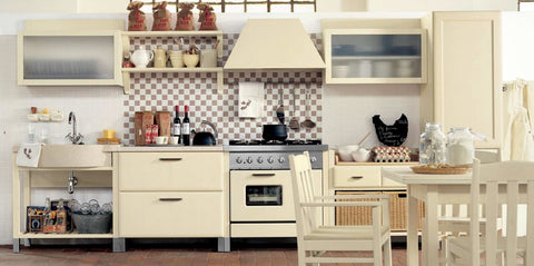 bright, cream, simple country kitchen theme decor ideas