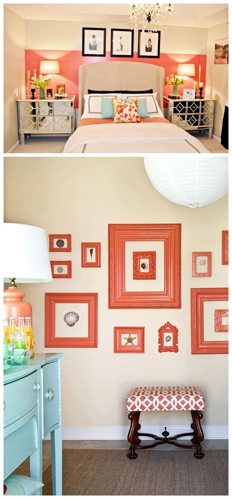 Coral accent decor for beige painted room