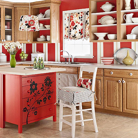 Retro With Red Kitchen Decor