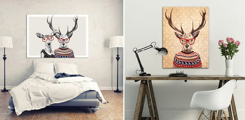 Modern Unique Wall Art Animal Characters