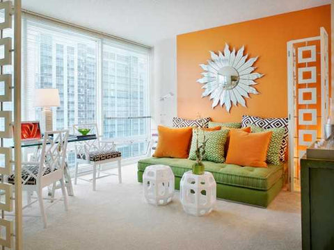 home decor to match orange accent wall