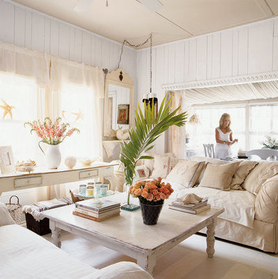 white cottage style interior design