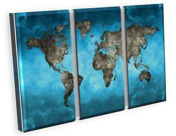 3 Piece World Map Canvas Wall Art Set