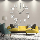 3D Modern Jumbo Wall Clock, White