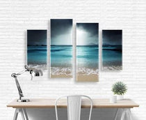 4 Piece Canvas Set Blue Beach Scene