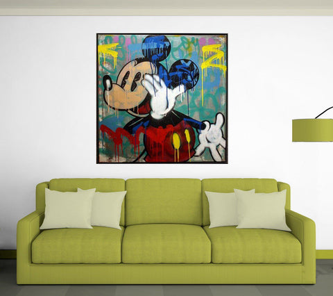 Mickey Mouse Pop Art Wall Canvas, Spray Paint Style - Shop Cheap Wall Decor Online