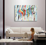 Abstract Colorful Zebra Oil Painting Canvas Wall Art