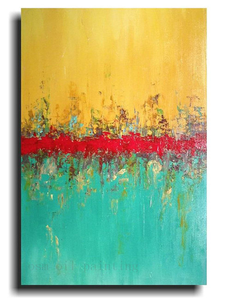 Abstract Yellow Red And Green Merging Colors Canvas Oil Painting
