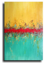 Abstract Yellow, Red and Green Merging Colors Canvas Oil Painting