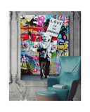 "Albert Einstein Banksy Wall Art ""Love Is The Answer"", Large Colorful Graffiti Street Artwork"