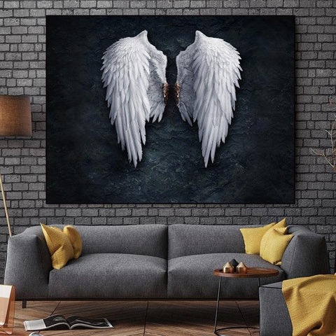 Angel Wings Canvas Art Piece, Black and White