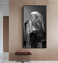 Angel Wings Girl Black and White HD Canvas Print