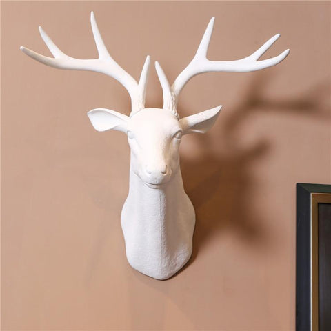 Artificial Deer Head Wall Hanging, Several Color Options