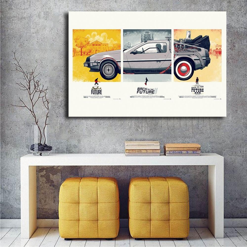 Back To The Future Movie Art, Delorean Canvas Movie Picture
