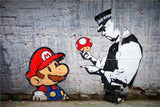 Banksy Graffiti Painting Mario Brothers Collectible Artwork Canvas Wall Print