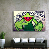 Banksy Kermit the Frog Canvas Print Wall Art