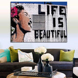Banksy Life Is Beautiful Graffiti Art for Wall Canvas Print