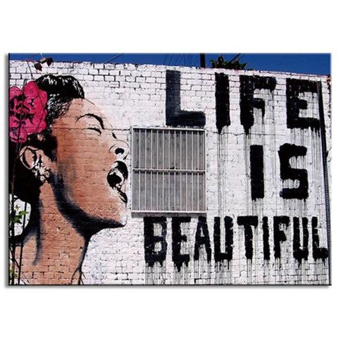 Banksy Life Is Beautiful Graffiti Art for Wall
