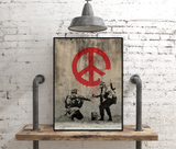 Bansky Street Art Graffiti Soldiers Painting Peace Sign Canvas Art Print