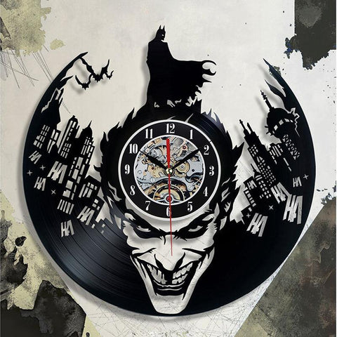 Batman Clock, Black Classic Vinyl Record, Novelty Wall Clock Gift, Retro CD Vinyl Superhero Clock