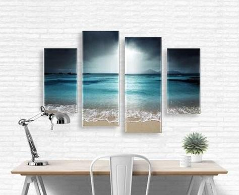 Beach Scene Modern Wall Art Set, Framed or Unframed