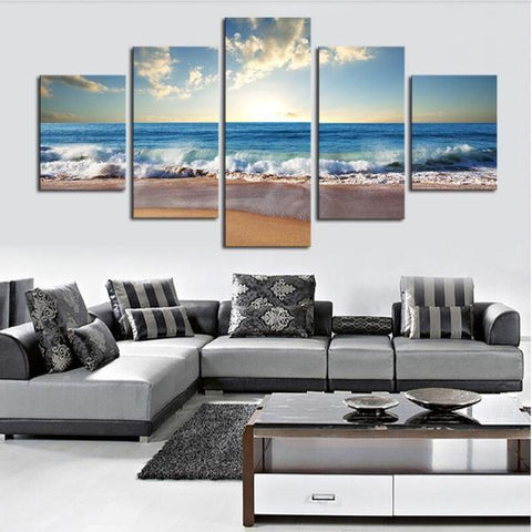 Beautiful Beach Scene, Waves Crashing Art Panel Set Rouse the Room