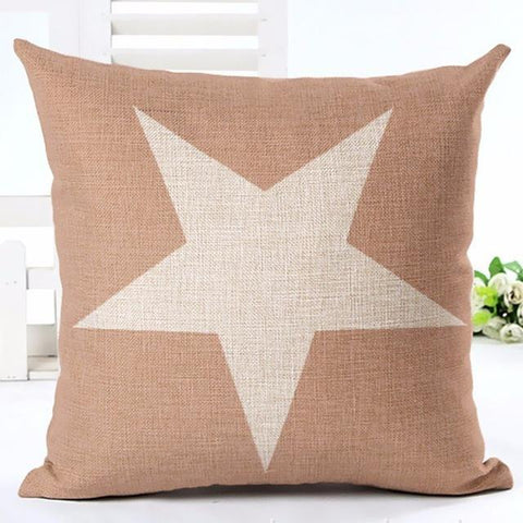 Beige Throw Pillow with Star
