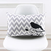 Bird on a Branch Gray and White Chevy Print Accent Pillow