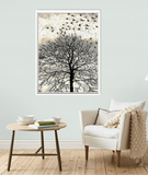 Birds in Flight Above Winter Tree, Framed or Unframed
