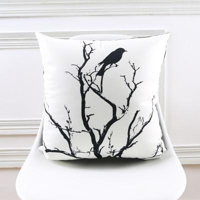 Black and White Bird n' Branch Plush Throw Pillow Cover
