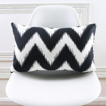 Black and White Chevy Print 30x50cm Accent Pillow
