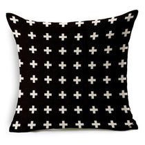 Black and White Crosses Pattern Throw Pillows