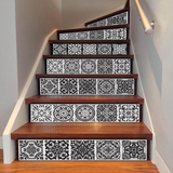 Black and White Faux Tile Decal for Staircase