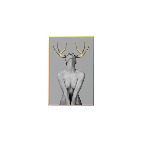 Black and White Minimalist Elk Antler Girl Wall Art