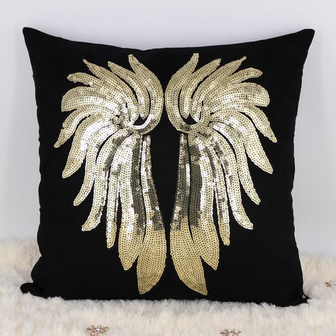 Black Velvet and Gold Sequin Angel Wings Accent Pillow