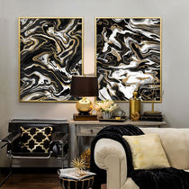 Black White and Gold Abstract Canvas Prints