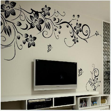 Black & White Wall Art Decal Decoration, Romantic Flower Wall Sticker 3D Home Decor