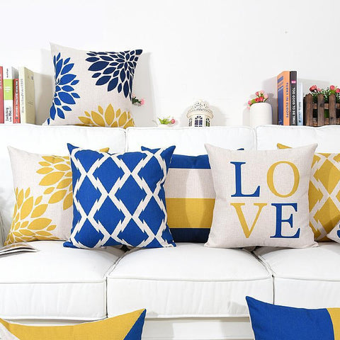 Blue and Yellow Geometric Floral Quotes Throw Pillows, Nordic Throw Pillow Combinations