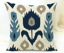 Blue Hues Embroidered Type Print Throw Pillow Cover