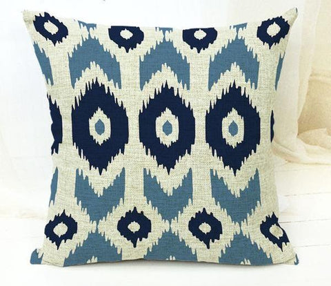 Blue & Navy Tribal Pattern Throw Pillow Cover