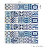 Blue Tile Backsplash Decals for Staircase
