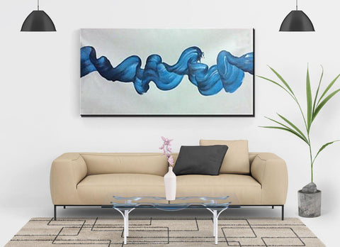 Blue Water Abstract Oil Painting