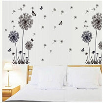 Butterfly Floating Dandelion Wall Art Decal, Black and White Room Decor